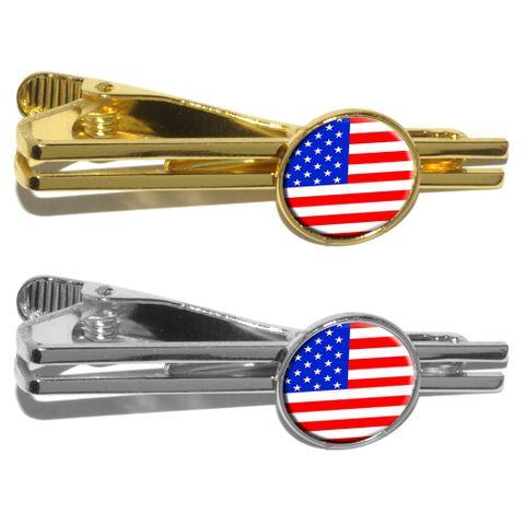 American USA Flag - Patriotic Round Tie Clip