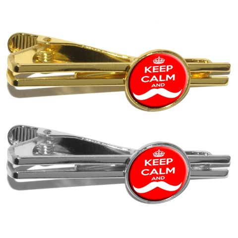 Keep Calm and Mustache - Red Round Tie Clip