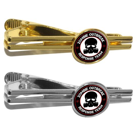 Zombie Outbreak Reponse Team Red on Black - Gasmask Skull Round Tie Clip
