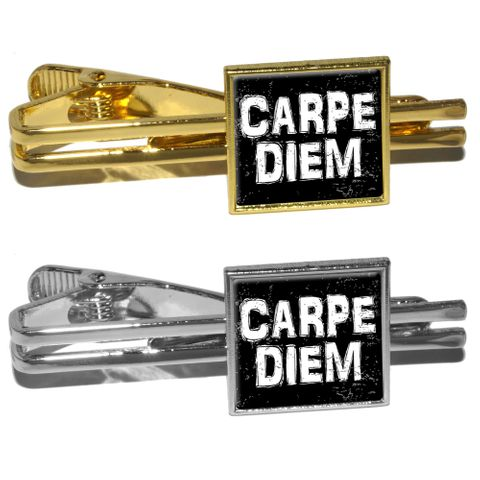 Carpe Diem Sieze the Day Latin Inspirational Distressed Square Tie Clip