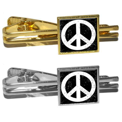 Peace Sign Distressed Inspirational Square Tie Clip