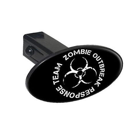 Zombie Outbreak Response Team White On Black Oval Tow Hitch Cover