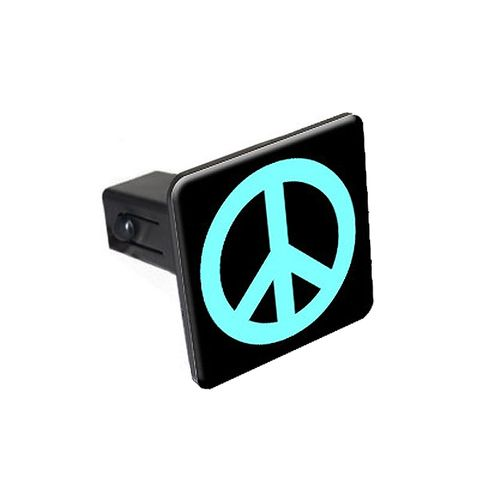 Peace Sign Light Blue Tow Hitch Cover