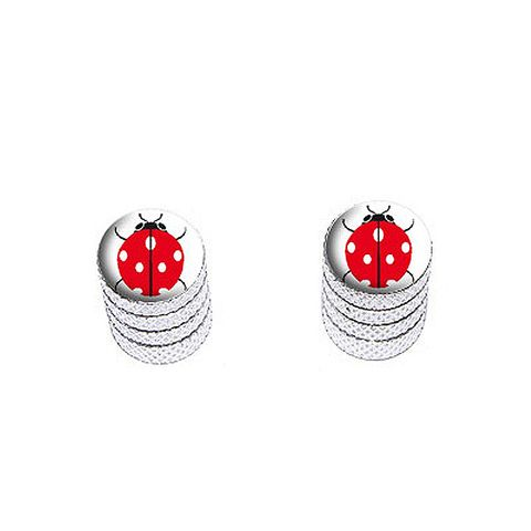 Ladybug on White - Bike Valve Stem Caps