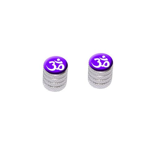 Om Aum Yoga White on Purple Bike Valve Stem Caps