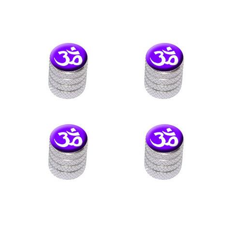 Om Aum Yoga White on Purple Valve Stem Caps