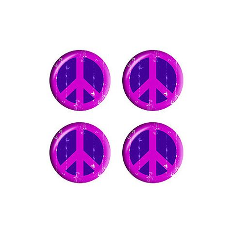 Distressed Peace Sign Symbol Purple - Set of 3D Stickers