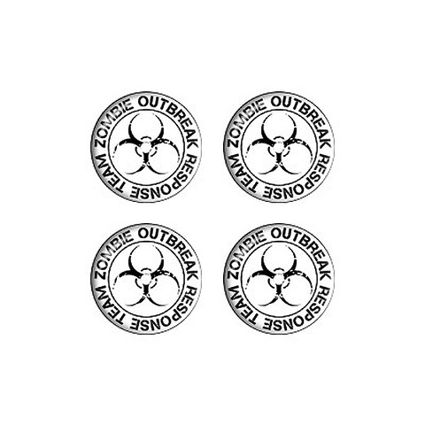 Zombie Outbreak Reponse Team Black on White - Set of 3D Stickers