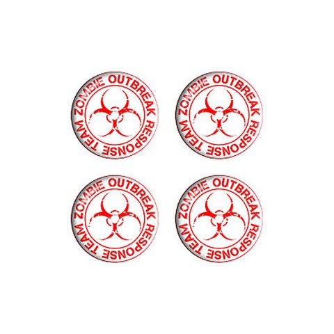 Zombie Outbreak Reponse Team Red on White - Set of 3D Stickers