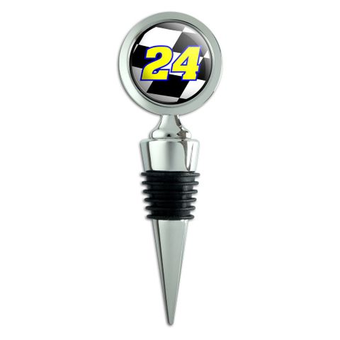 Number 24 Checkered Flag Racing Wine Bottle Stopper