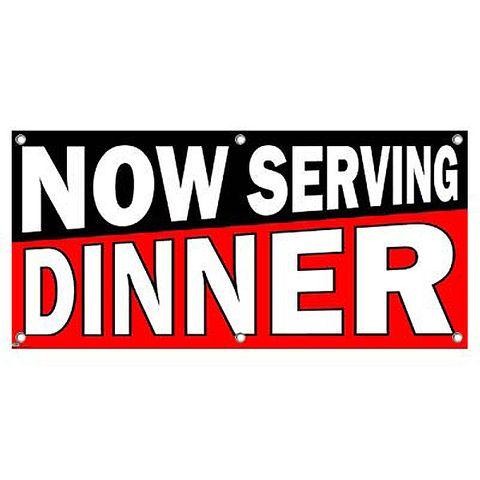 Now Serving Dinner Black Red - Restaurant Cafe Bar Business Sign Banner