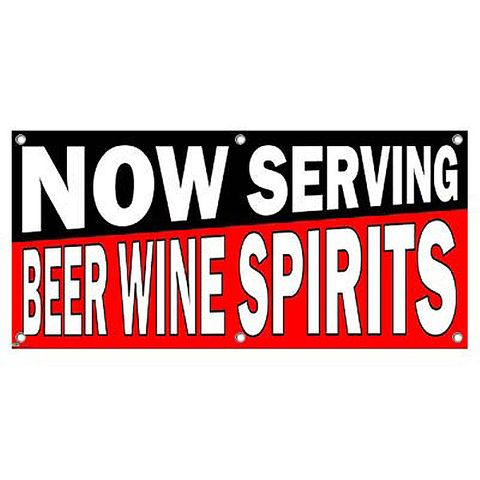 Now Serving Beer Wine Spirits Black Red - Restaurant Cafe Bar Business Sign Banner