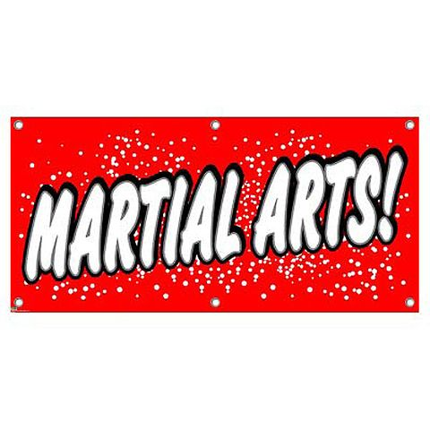 Martial Arts - Karate Kenpo Taekwondo Lessons Teaching Red with Dots Business Sign Banner