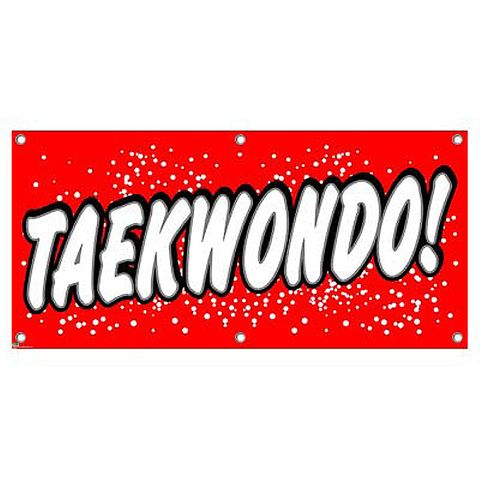 Taekwondo - Martial Arts Lessons Teaching School Red with Dots Promotion Business Sign Banner