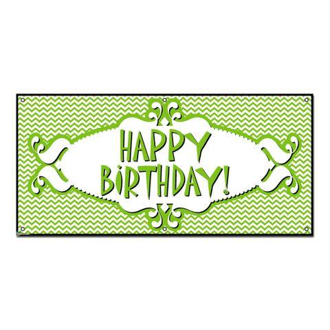 Happy Birthday Chevron Pattern Green - Party Celebration Banner
