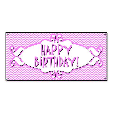 Happy Birthday Chevron Pattern Pink - Girl Party Celebration Banner