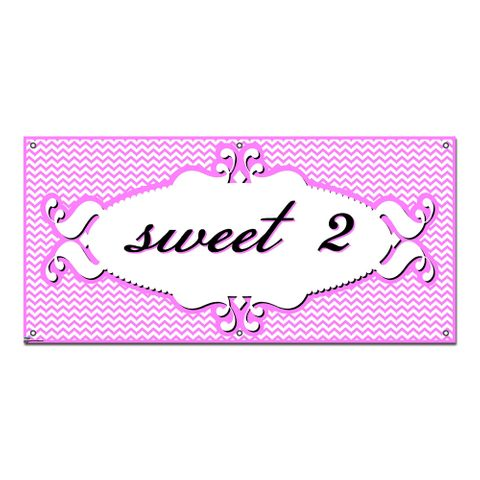 Sweet 2 Two 2nd Second Happy Birthday Chevron Pattern Pink Girl - Party Celebration Banner