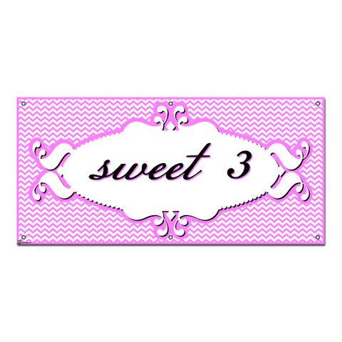 Sweet 3 Three 3rd Third Happy Birthday Chevron Pattern Pink Girl - Party Celebration Banner