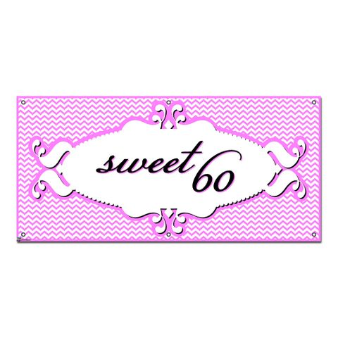 Sweet 60 Sixty Happy Birthday Chevron Pattern Pink Girl - Party Celebration Banner