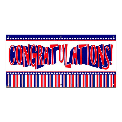 Congratulations Patriotic Red White Blue - Party Celebration Banner