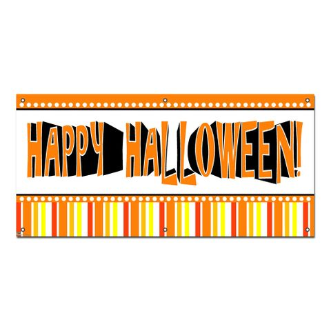Happy Halloween Fun Stripes - Party Celebration Banner