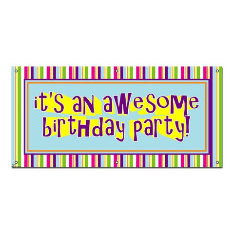 Awesome Birthday Party Stripes - Celebration Banner