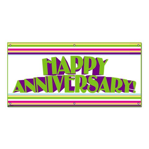 Happy Anniversary Colorful Stripes - Celebration Party Banner