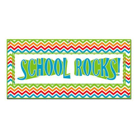 School Rocks Colorful Chevrons - Classroom Teachers Sign Banner