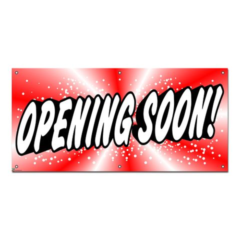 Opening Soon Red - Retail Restaurant Store Business Sign Banner