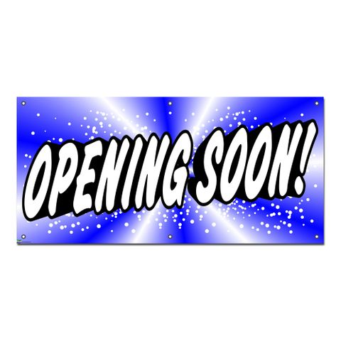 Opening Soon Blue - Retail Restaurant Store Business Sign Banner