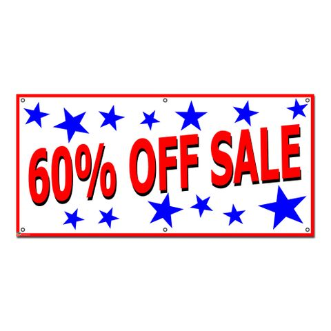 60 Percent Off Sale with Stars Patriotic - Retail Store Business Sign Banner