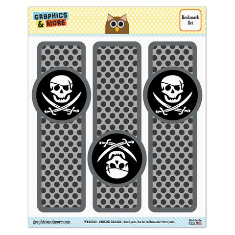 Pirate Skull Crossed Swords Jolly Roger Glossy Laminated Bookmarks - Set of 3