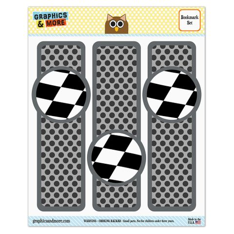 Checkered Flag Racing Glossy Laminated Bookmarks - Set of 3