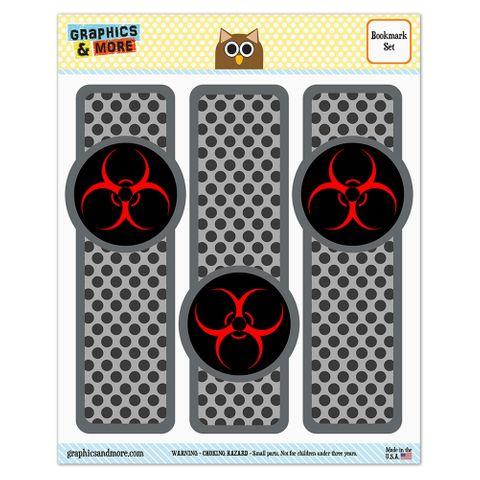 Biohazard Warning Symbol Zombie Radioactive Glossy Laminated Bookmarks - Set of 3