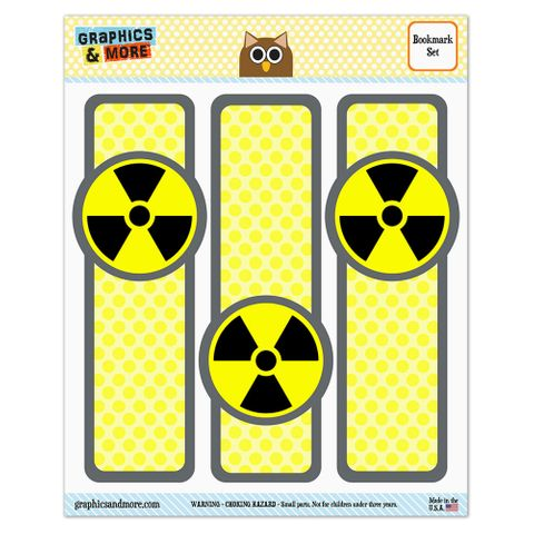 Radioactive Nuclear Warning Symbol Glossy Laminated Bookmarks - Set of 3