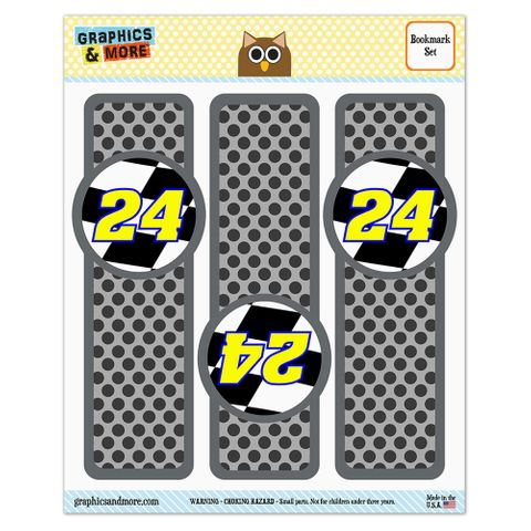 Number 24 Checkered Flag Racing Glossy Laminated Bookmarks - Set of 3