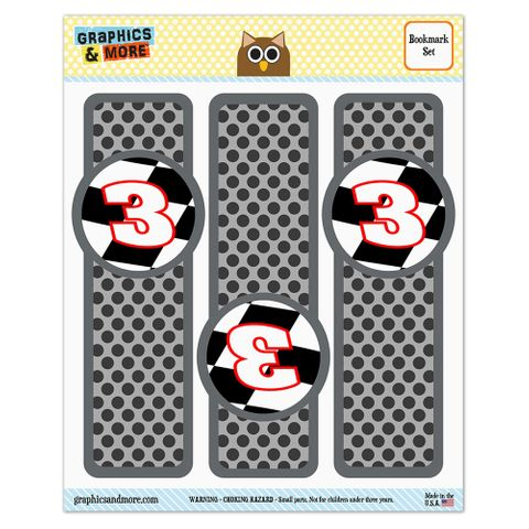 Number 3 Checkered Flag Racing Glossy Laminated Bookmarks - Set of 3