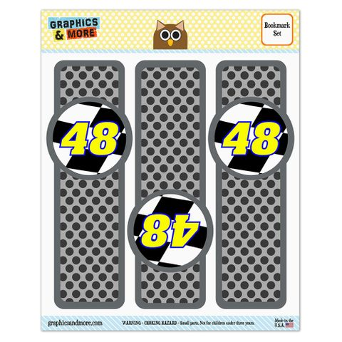 Number 48 Checkered Flag Racing Glossy Laminated Bookmarks - Set of 3