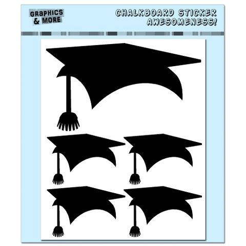 Graduation Cap - Graduate - 4 Sheets Chalkboard Stickers