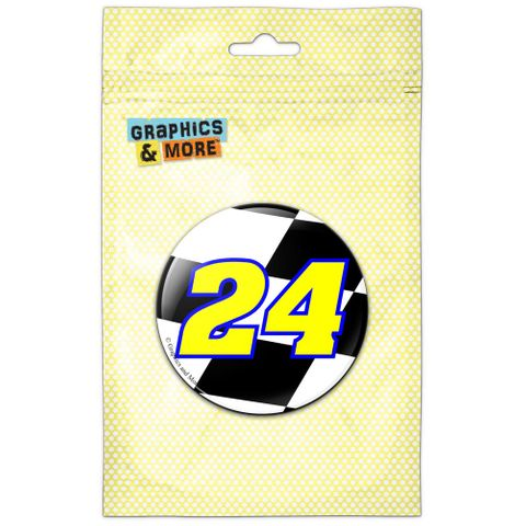 Number 24 Checkered Flag Racing Pinback Button Pin Badge