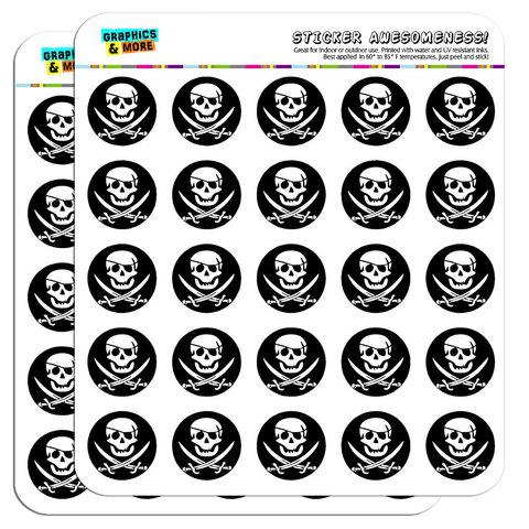 "Pirate Skull Crossed Swords Jolly Roger 1"" Scrapbooking Crafting Stickers"
