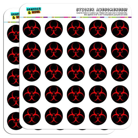 "Biohazard Warning Symbol Zombie Radioactive 1"" Scrapbooking Crafting Stickers"