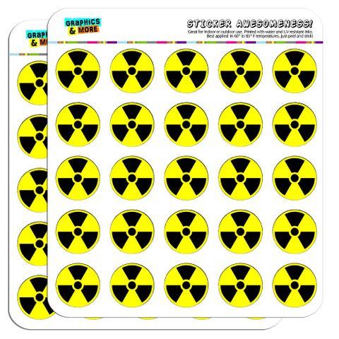 "Radioactive Nuclear Warning Symbol 1"" Scrapbooking Crafting Stickers"