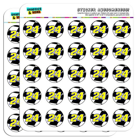 """Number 24 Checkered Flag Racing 1"""" Scrapbooking Crafting Stickers"""