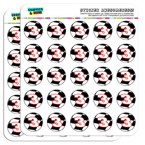 """Number 3 Checkered Flag Racing 1"""" Scrapbooking Crafting Stickers"""