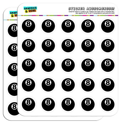 """Eight Ball Pool Billiards 1"""" Scrapbooking Crafting Stickers"""