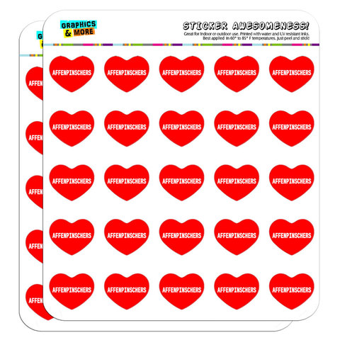 "I Love Heart - Dogs - Affenpinschers - 1"" Scrapbooking Crafting Stickers"