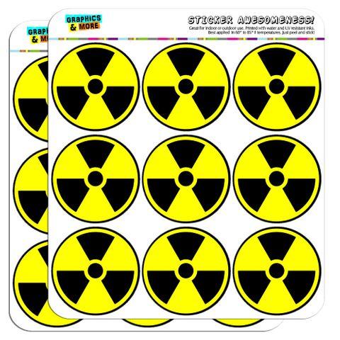 "Radioactive Nuclear Warning Symbol 2"" Scrapbooking Crafting Stickers"