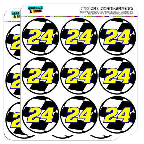 """Number 24 Checkered Flag Racing 2"""" Scrapbooking Crafting Stickers"""