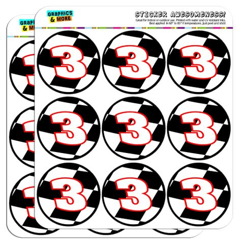 """Number 3 Checkered Flag Racing 2"""" Scrapbooking Crafting Stickers"""